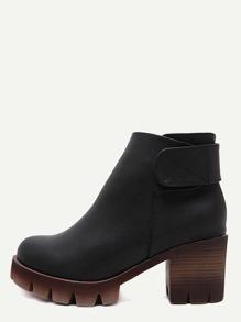 Botines de cuero tobillo de tacón alto - negro