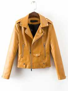 Yellow Lapel Oblique Zipper PU Jacket