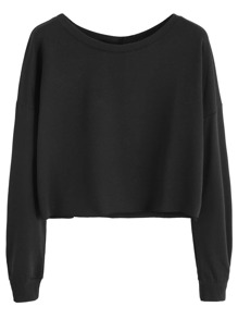 Black Drop Shoulder Crop Sweatshirt