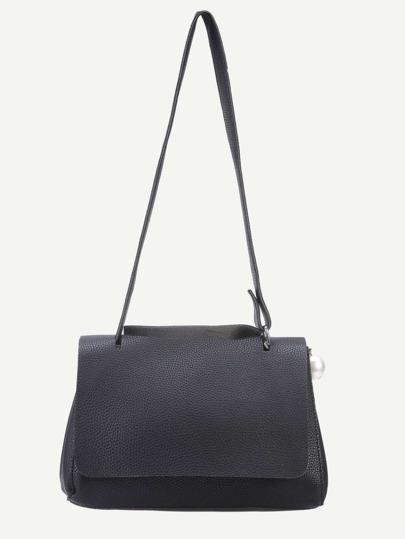 Black Pebbled PU Faux Pearl Embellished Flap Bag