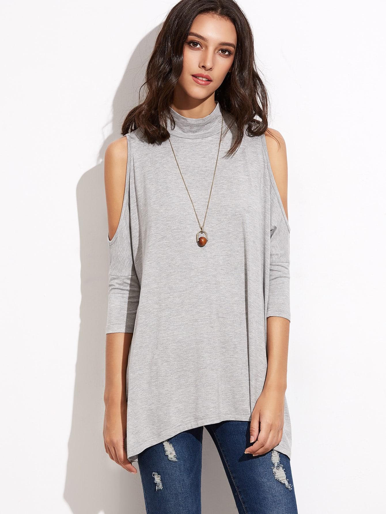 High Neck Keyhole Back Open Shoulder T-shirt
