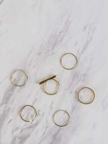 Classic Metallic Bar Ring Set GOLD