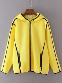 Yellow Hooded Zipper Up Net Jacket With Pockets
