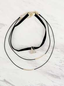 Triangle Pendant Layered Necklaces GOLD