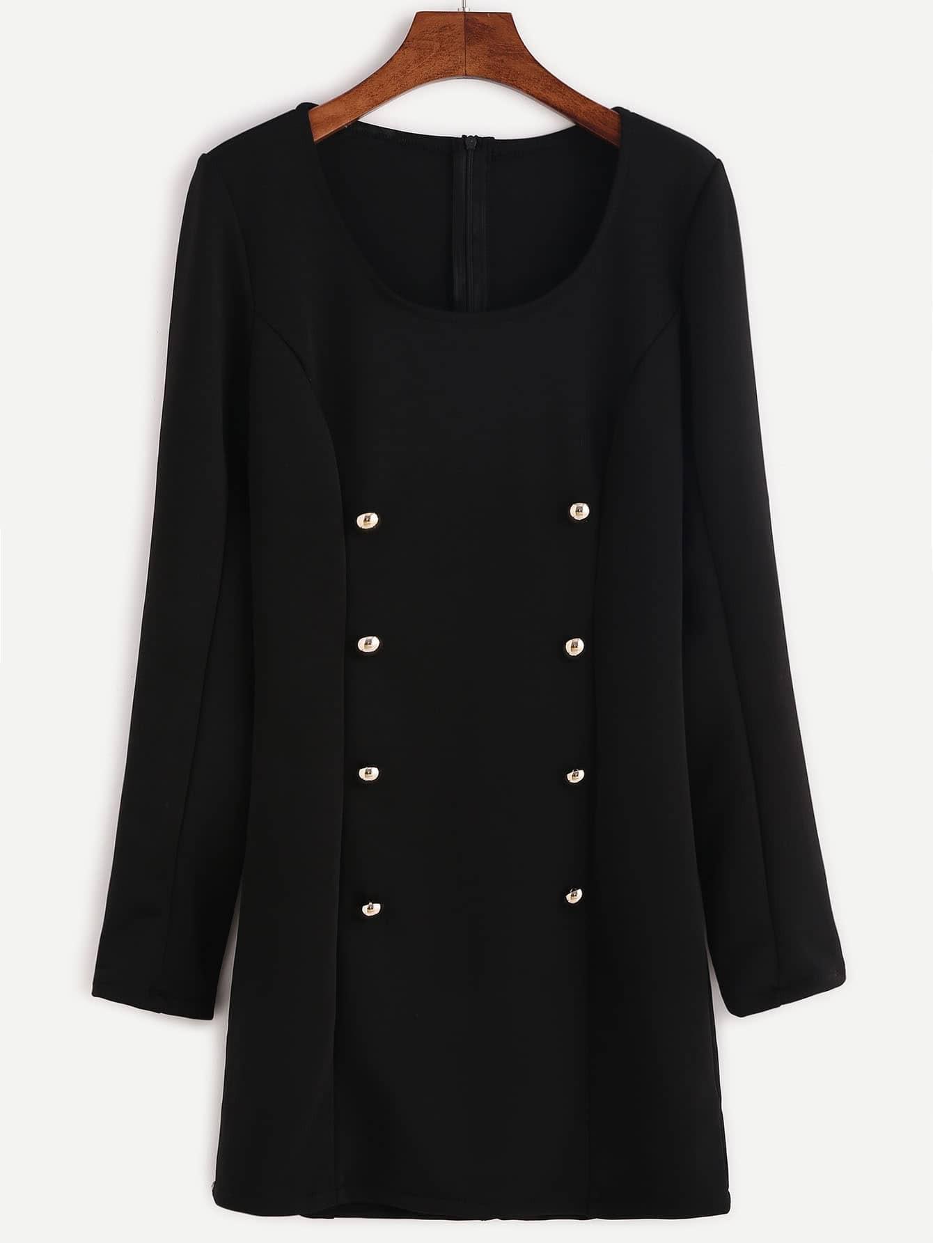 Black Double Breasted Zipper Back Sheath DressBlack Double Breasted Zipper Back Sheath Dress<br><br>color: Black<br>size: L,M,S,XL