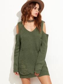 Olive Green Cold Shoulder Ripped Sweater Dress