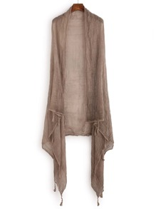 Dark Khaki Tassel Trim Simple Scarf