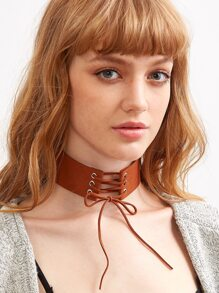Brown Faux Suede Lace Up Wide Choker