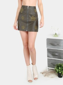 Zip Front Suede Star Embroidered PU Faux Leather Skirt DARK OLIVE