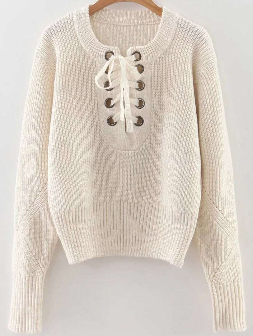 White Eyelet Lace Up Ribbed Trim Sweater sweater160920221