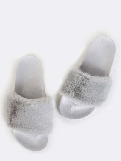 Faux Fur Slide Sandals GREY