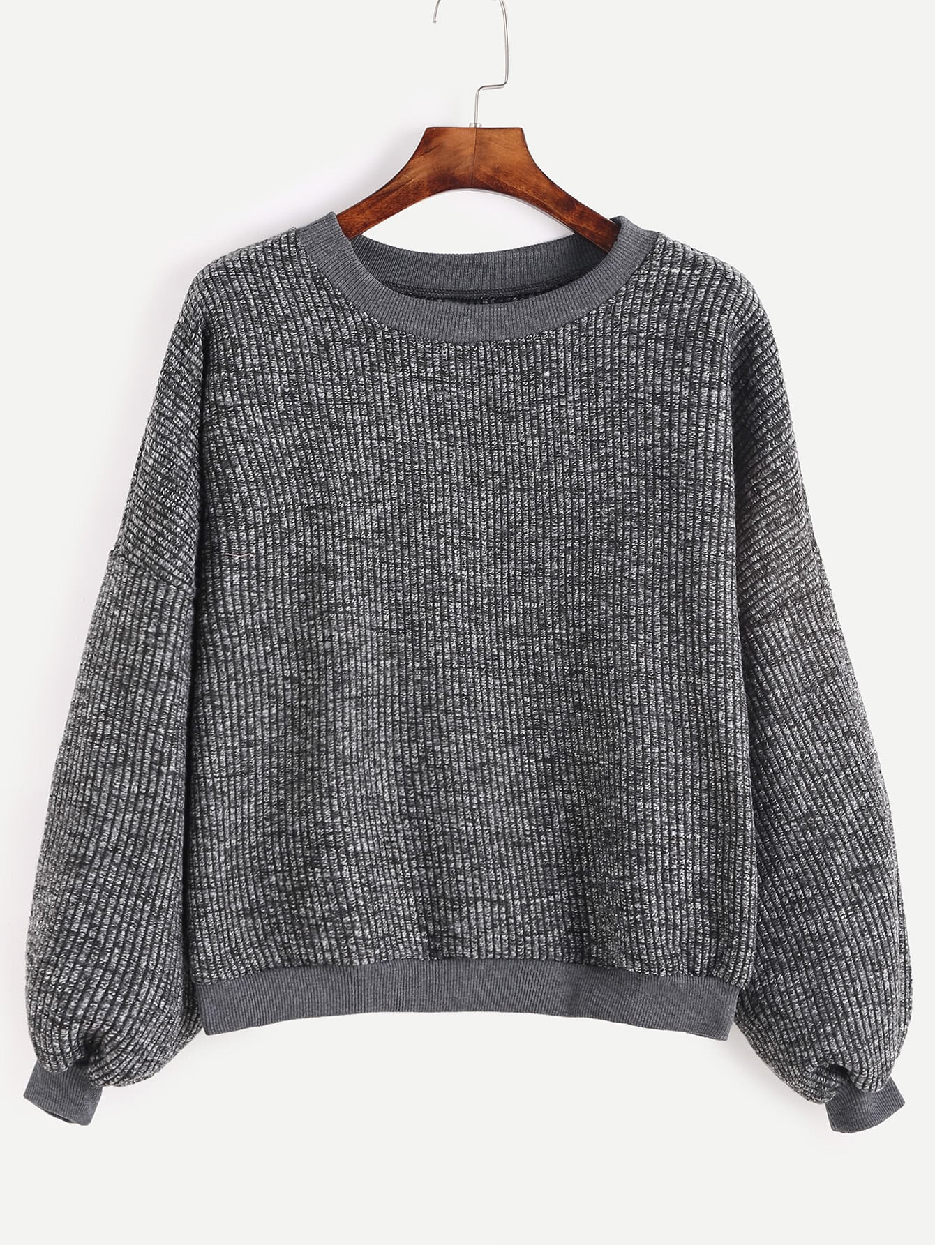 Dark Grey Drop Shoulder Ribbed Sweater dark grey ribbed trim drop shoulder lace up sweatshirt