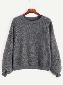 Dark Grey Drop Shoulder Ribbed Sweater