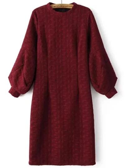 Burgundy Crew Neck Lantern Sleeve Slit Dress