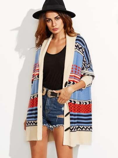 Chevron & Polka Dot Pattern Ribbed Trim Duffle Sweater Coat