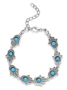 Silver Hamsa Hand Turquoise Beaded Charm Bracelet