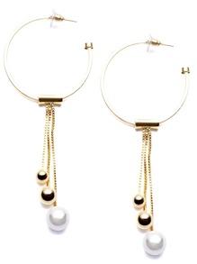 Gold Plated Circle Metal Ball Drop Earrings