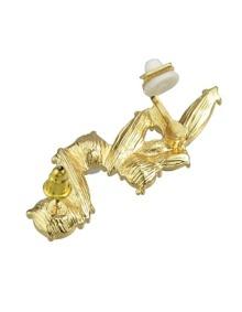 Rhinestone Pearl Ear Cuff Earring