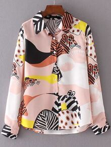 Multicolor Animal Print Dip Hem Blouse