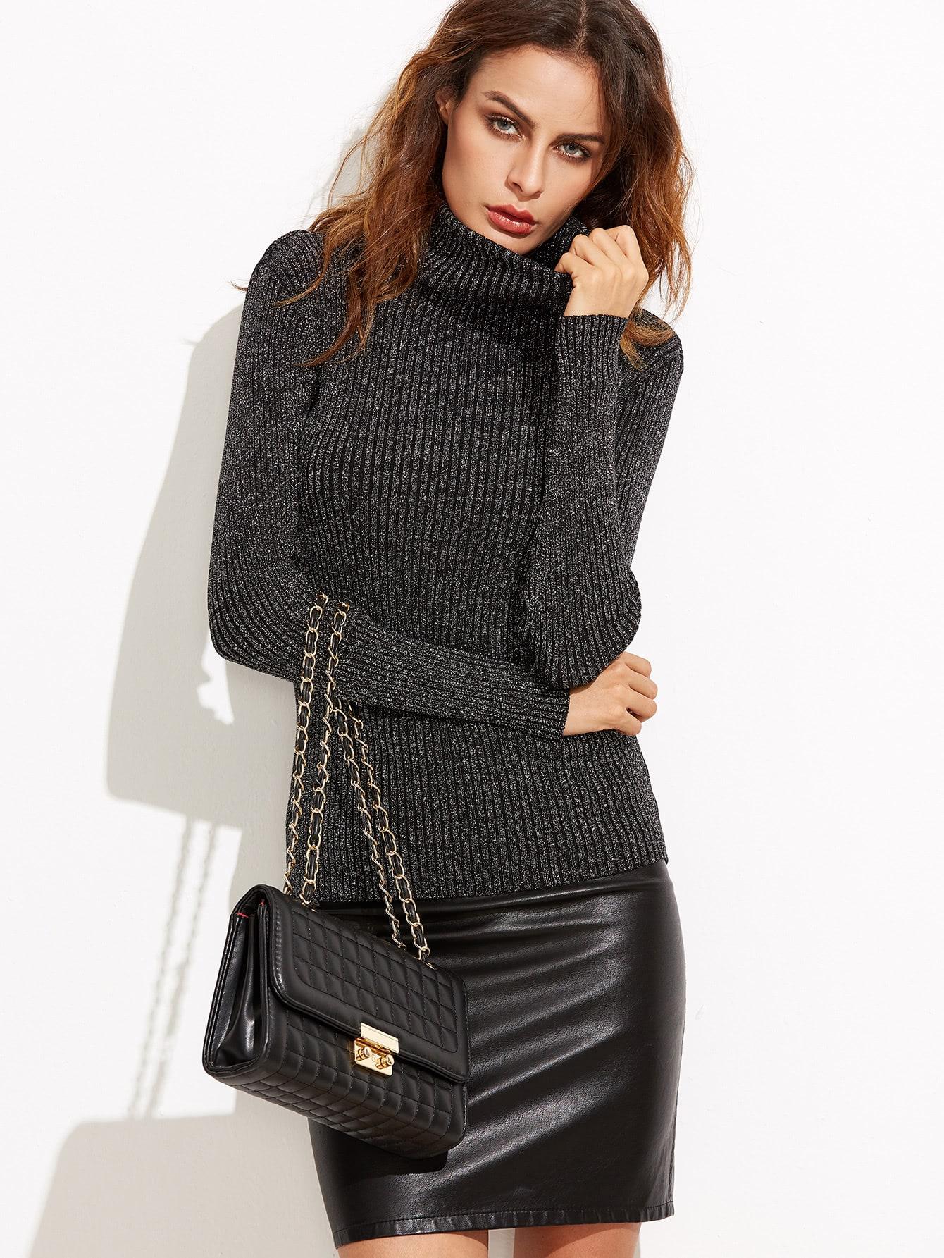 Black Turtleneck Ribbed Sweater sweater160919001