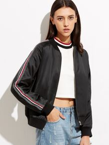 Black Striped Sleeve Zip Up Bomber Jacket