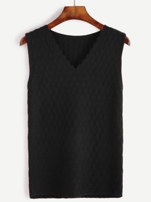 Black Ribbed Back Sweater Vest