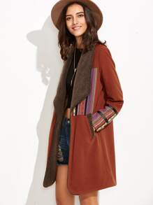 Cappotto Con Strisce Patch Finto Montone - Marrone