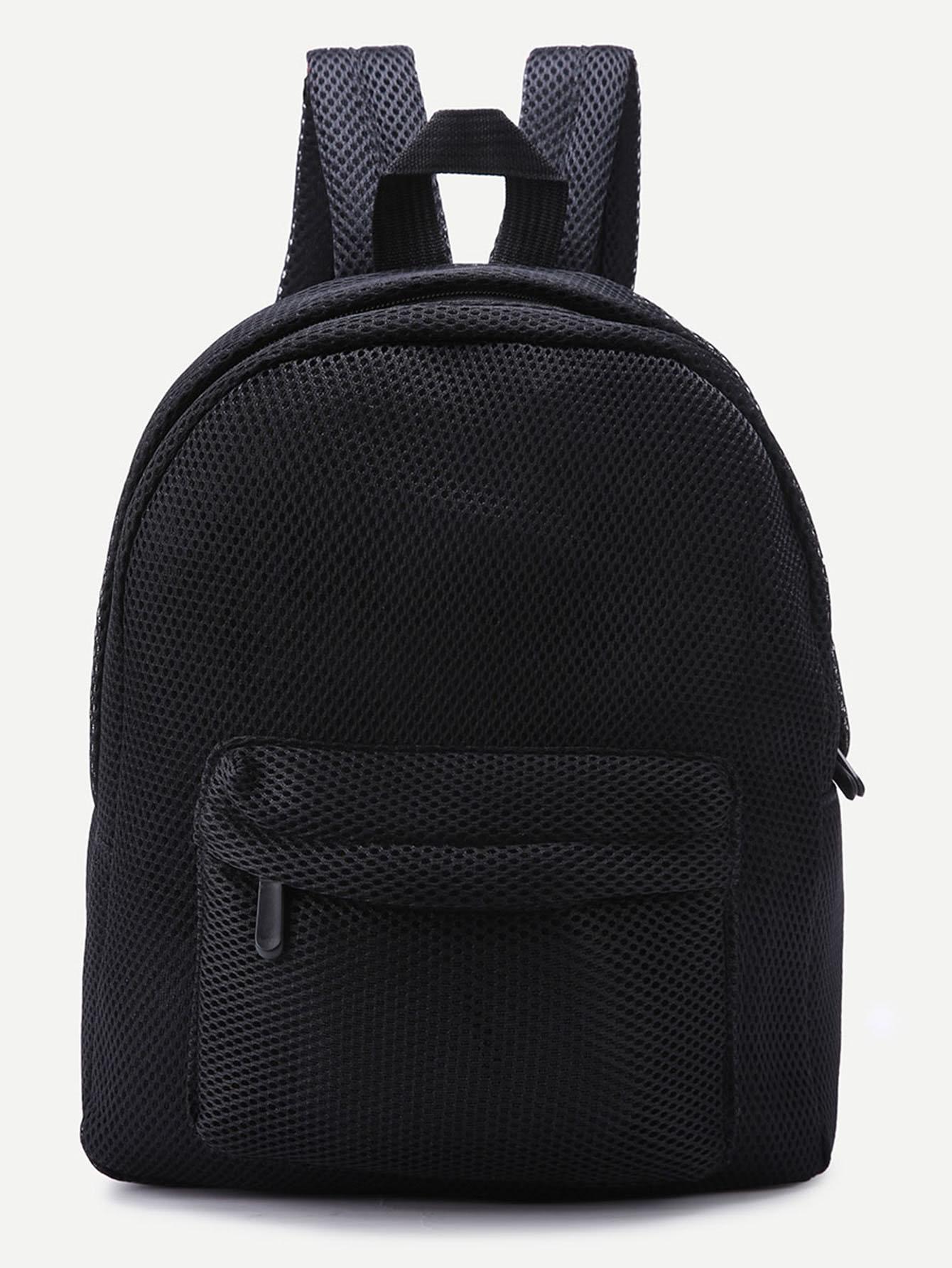 Фото Black Front Zipper Nylon Mesh Backpack. Купить с доставкой
