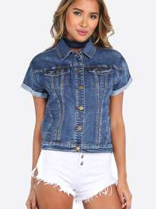 Short Sleeve California Denim Top DENIM