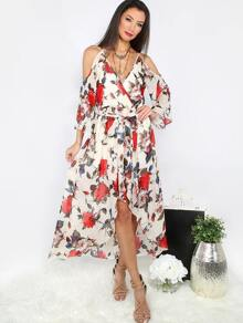 Multicolor Floral Tie Waist Cold Shoulder Surplice Dress