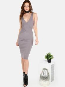 Wrap Over Ribbed Midi Dress GREY
