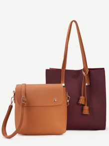 Burgundy PU Tassel Trim Tote Bag With Crossbody Bag