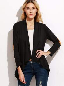 Black Elbow Patch Drape Front Asymmetric Coat