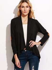 Black Elbow Patch Drape Front Asymmetric Coat