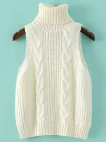 White Cable Knit Turtleneck Sweater Vest