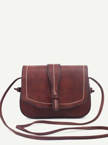 Coffee Faux Leather Saddle Bag