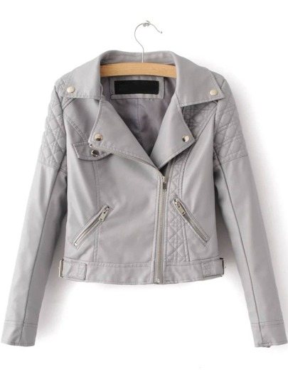 Grey Textured Detail PU Jacket With Zipper