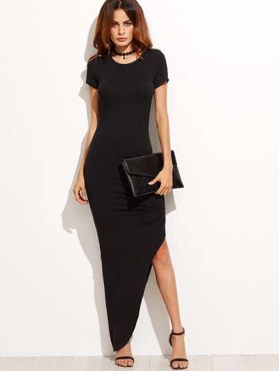 Black Short Sleeve Asymmetrical Maxi Dress