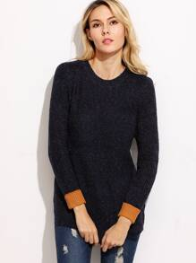 Navy Contrast Cuffed High Low Curved Hem Sweater
