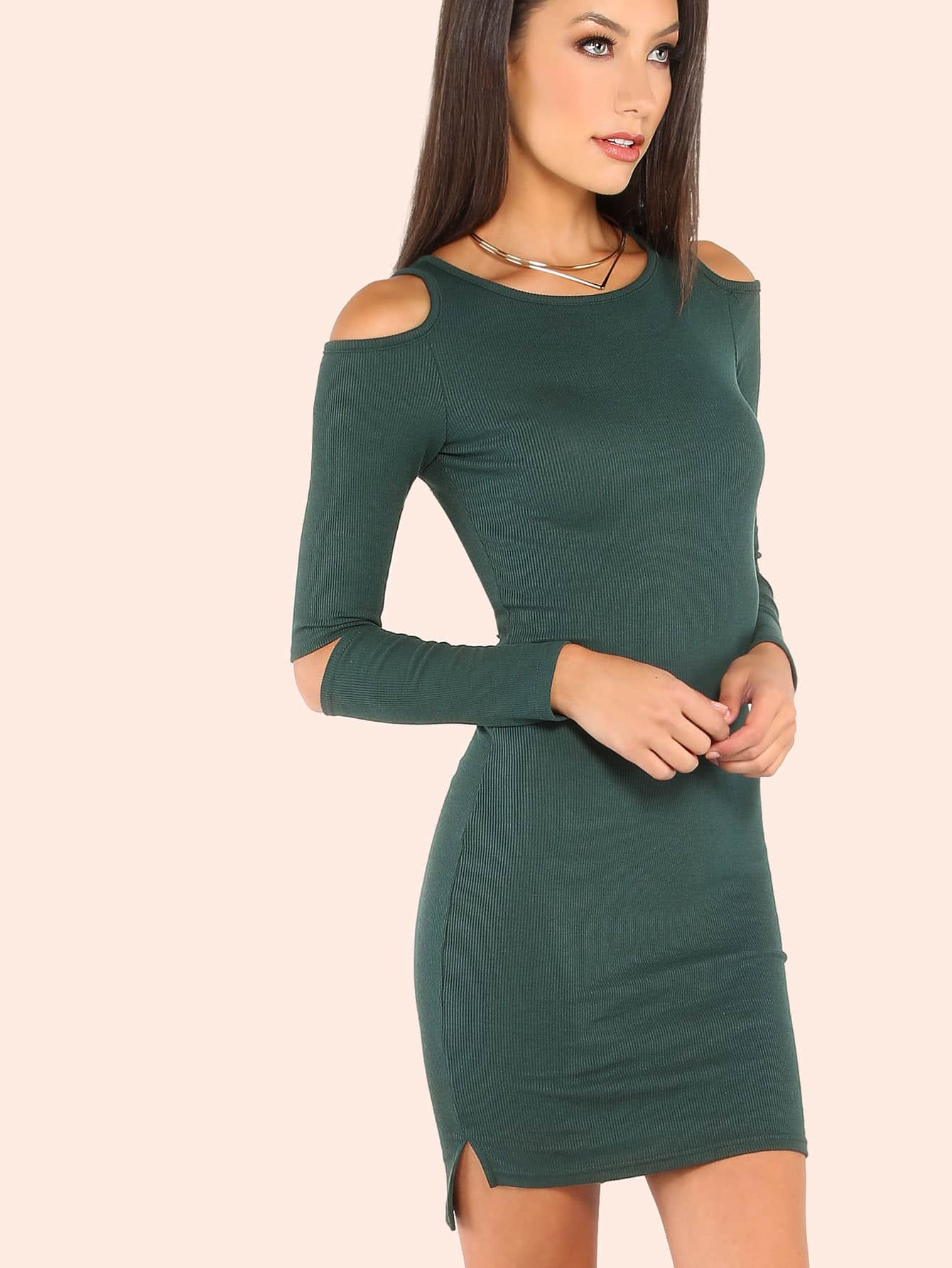 Rib Knit Cold Shoulder Elbow Cutout Dress HUNTER GREEN mmcdress-d350-huntergreen