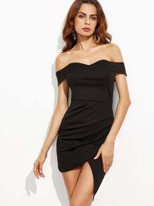 Black Off The Shoulder Ruched Wrap Dress