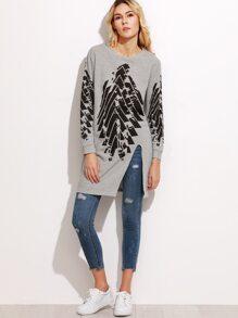 Heather Grey Print High Slit Front Long Sweatshirt
