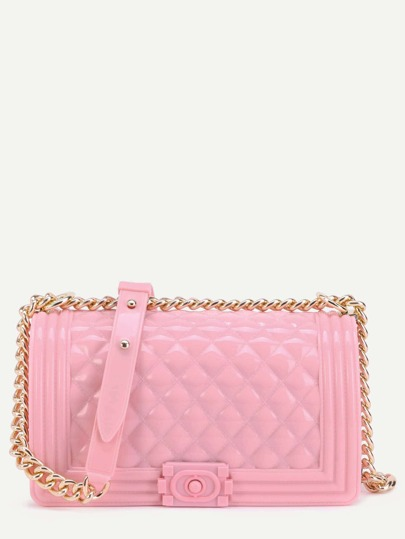 Mini Pink Quilted Flap Jelly Bag With Chain