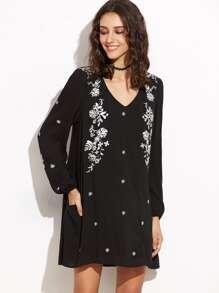 Black Cutout Back Lantern Sleeve Embroidered Tunic Dress