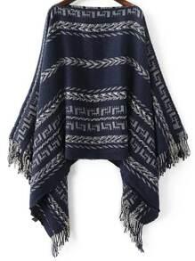 Navy Tribal Pattern Boat Neck Fringe Poncho Sweater