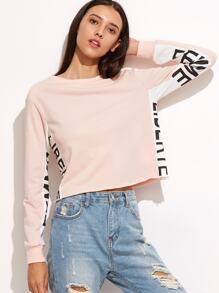 Sweat-shirt manche longue imprimé lettres - rose