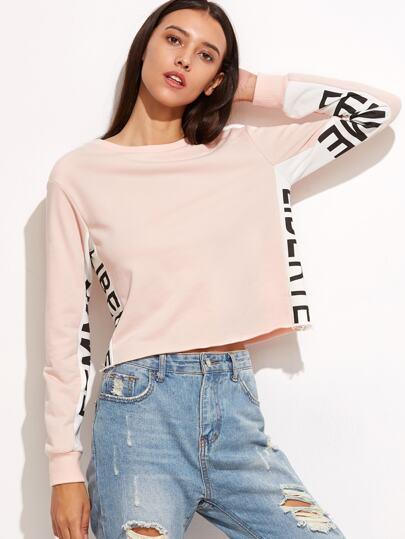 Contrast Letter Panel Crop Sweatshirt