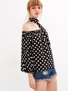 Off The Shoulder Polka Dot Blouse With Tie