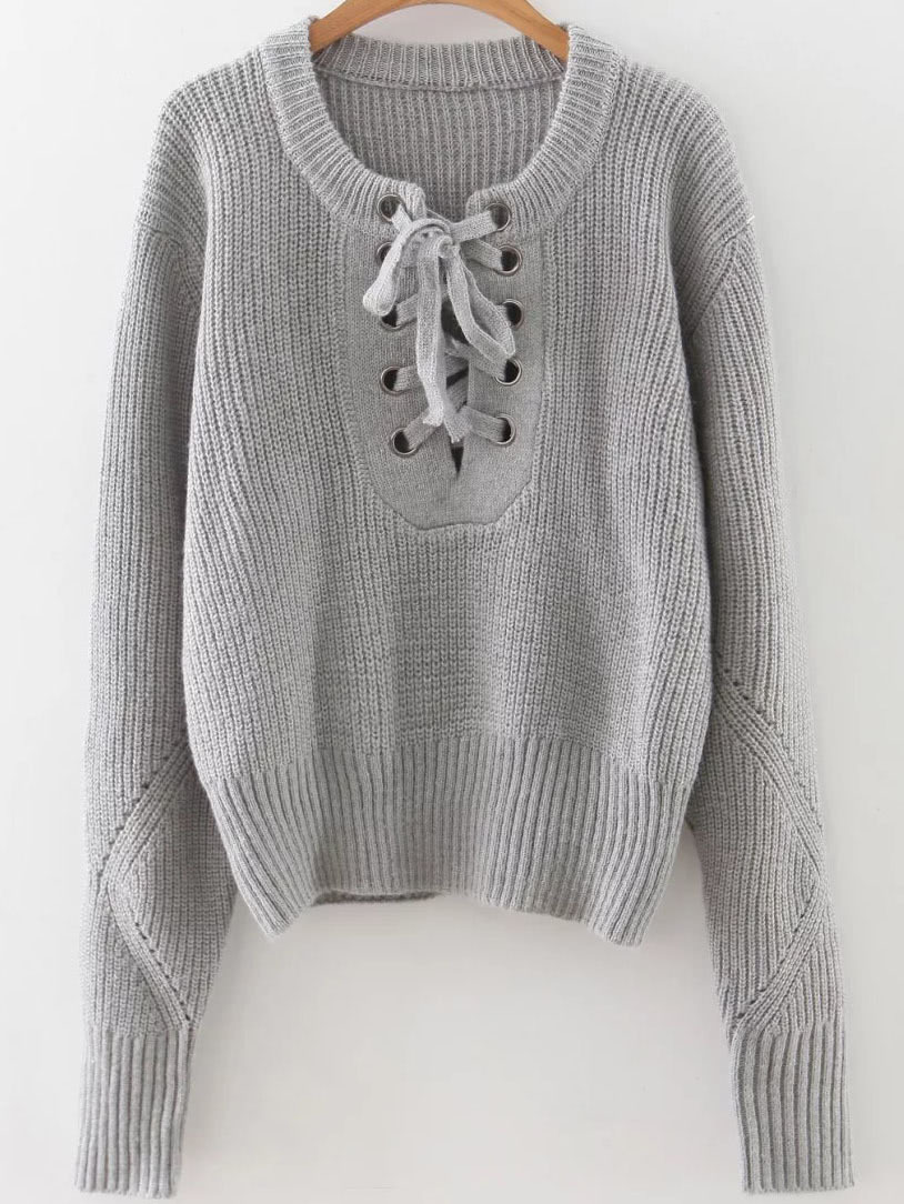 Grey Eyelet Lace Up Ribbed Trim Sweater sweater160920222