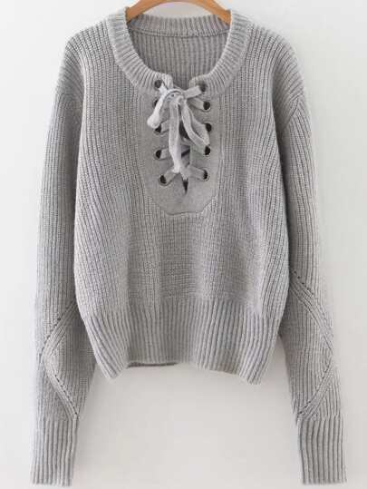 Grey Eyelet Lace Up Ribbed Trim Sweater